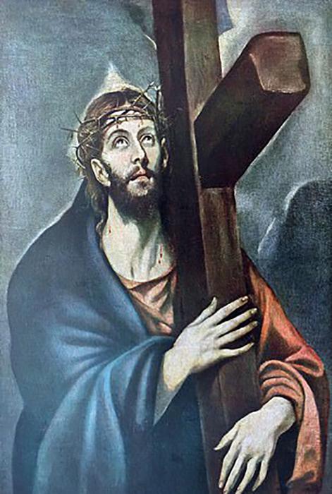 Картина с изображением Иисуса, держащего крест, работы испанского художника эпохи Возрождения Эль Греко, 16 век.